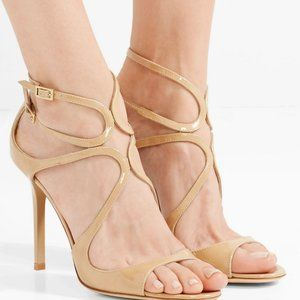 New JIMMY CHOO Lang 100mm Patent Leather Sandals
